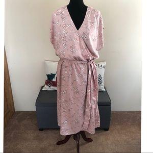 NWT Ava & Viv Pink Faux Wrap Dress Size 1X